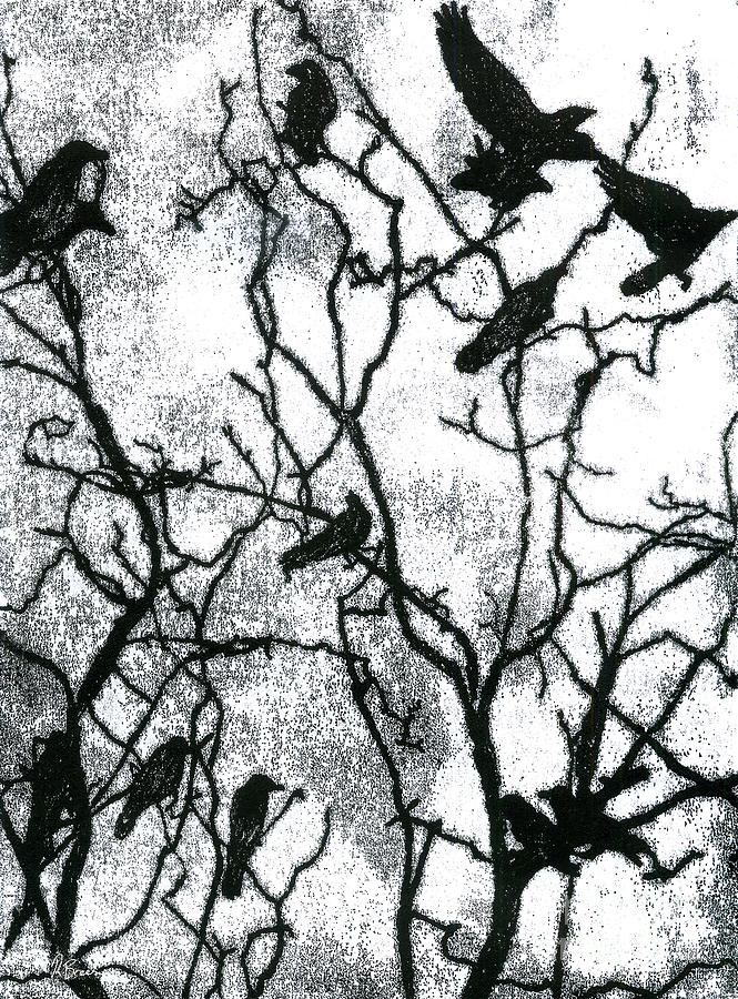Crows Drawing - Crows In Winter - Monotype by Rachel Breen