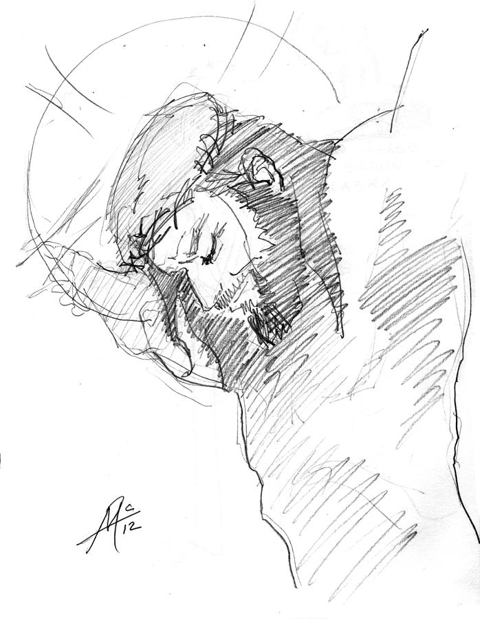 Jesus Drawing - Crucifixion 3 by Miguel De Angel