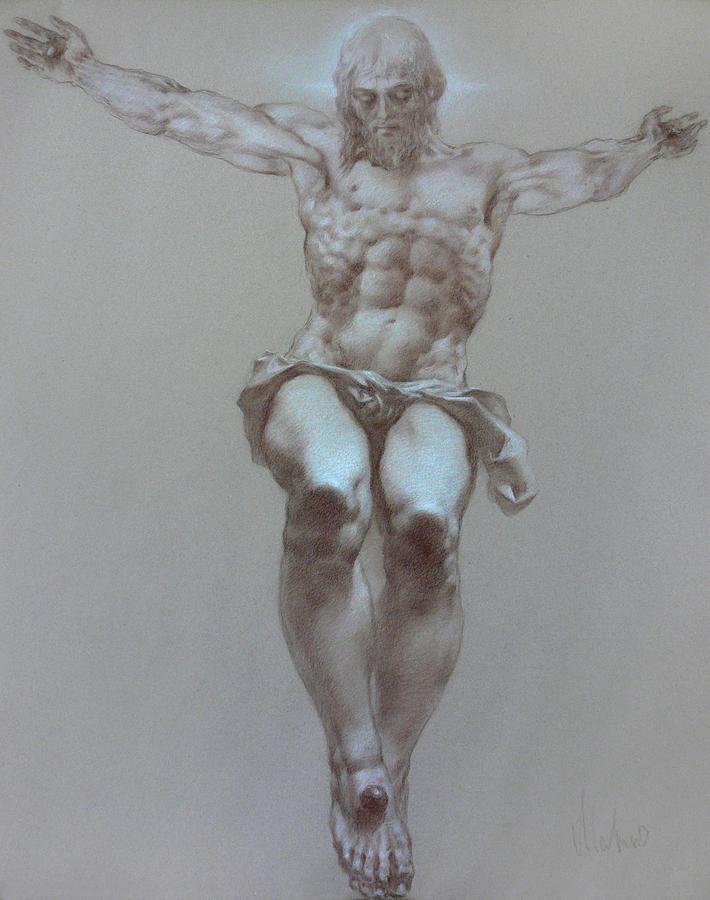 Symbolism Drawing - Crucifixion by Valeriy Mavlo