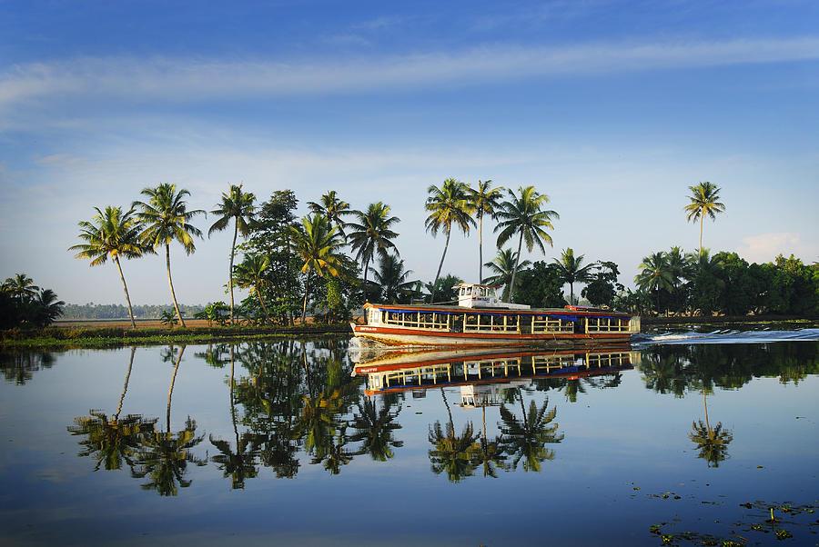 Horizontal Photograph - Cruise Boat Sailing Along Keralas Backwaters by Felix Hug