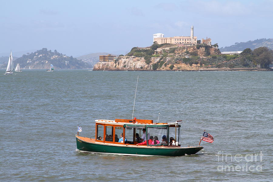 San Francisco Photograph - Cruizing The San Francisco Bay On The Pier 39 Boat Taxi With Alcatraz Island In The Distance.7d14322 by Wingsdomain Art and Photography