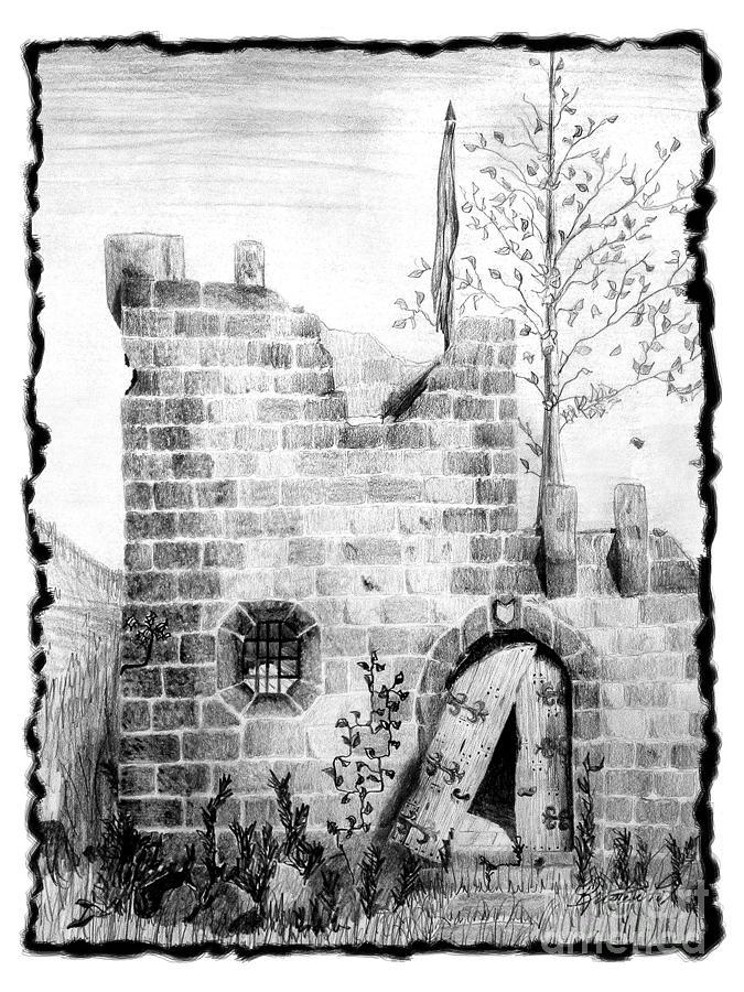 Crumbling Castle Drawing by Kristen Fox