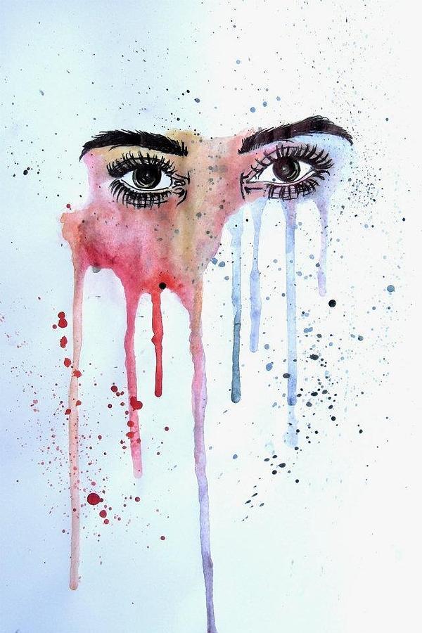 Painting Woman Black Face Larhe Eye