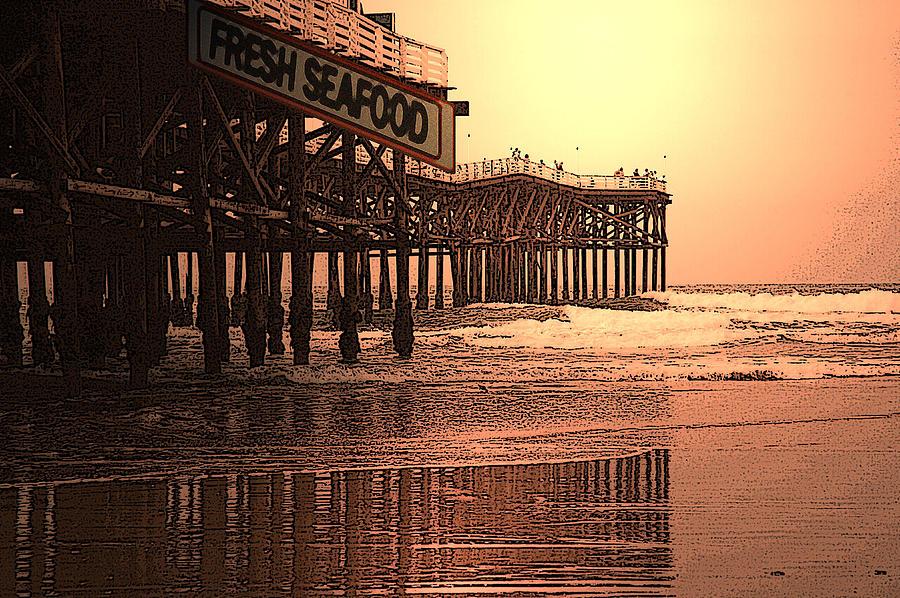 Pier Mixed Media - Crystal Pier  San Diego California by Richard Shelton