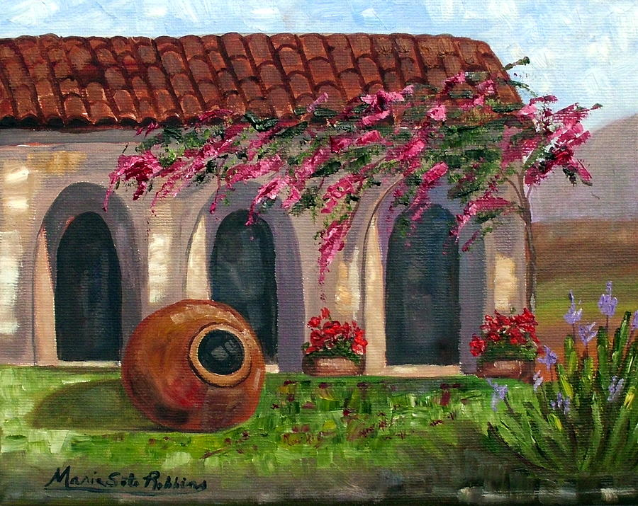 Cuba Painting - Cuban Courtyard With Tinajon And Bougainvillea by Maria Soto Robbins