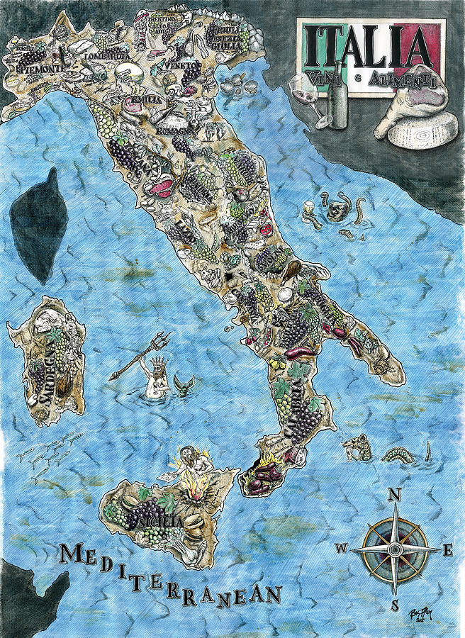 Ink Painting - Culinary Map Of Italy by Big Tasty