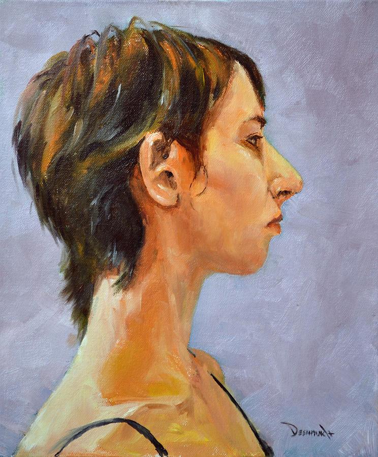 Portrait Painting - Curious Peaches by Vinayak Deshmukh