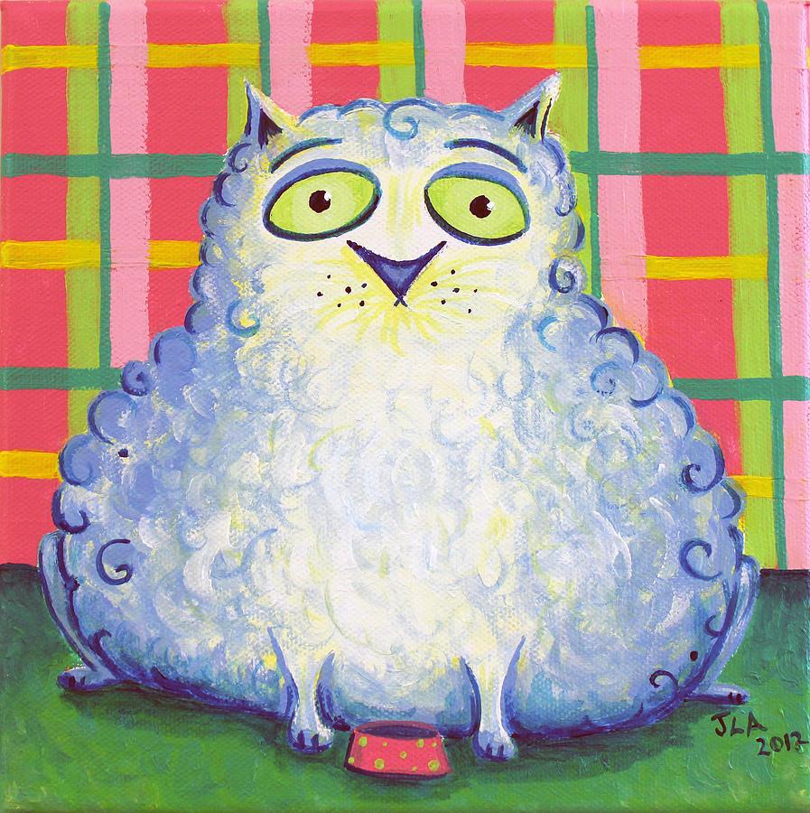Cat Painting - Curly Cat by Jennifer Alvarez