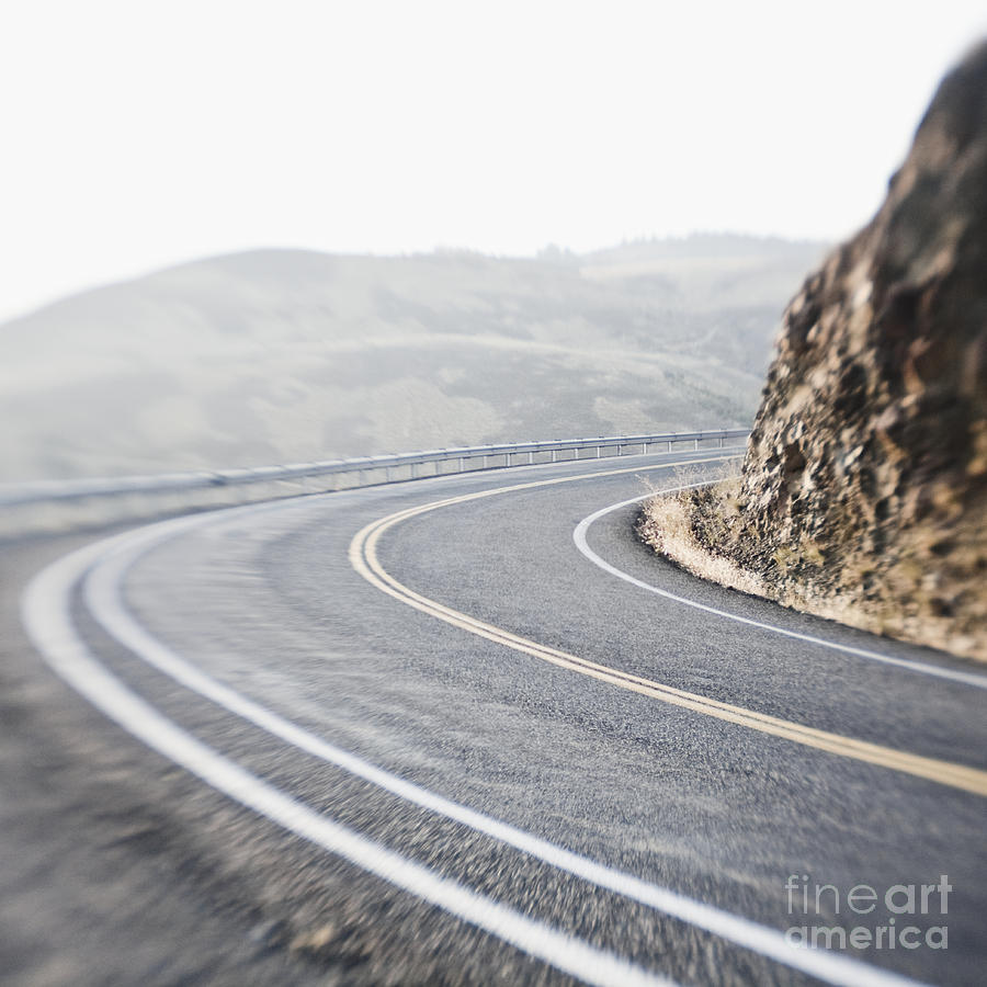 Asphalt Photograph - Curving Two Lane Road by Jetta Productions, Inc