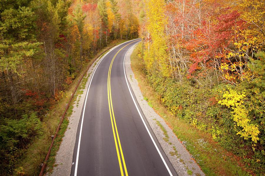 Horizontal Photograph - Curvy Road Blue Ridge Parkway, North Carolina by Lightvision, LLC