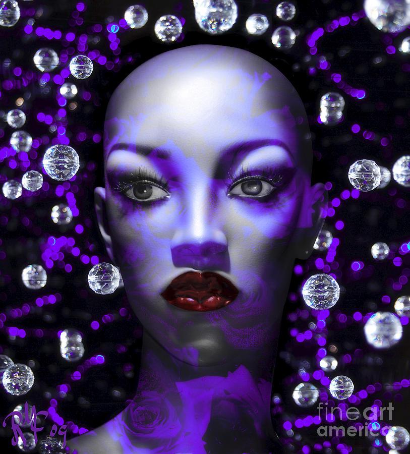 Blue Digital Art - Cushioned Lips Moon Lady by Rosa Cobos