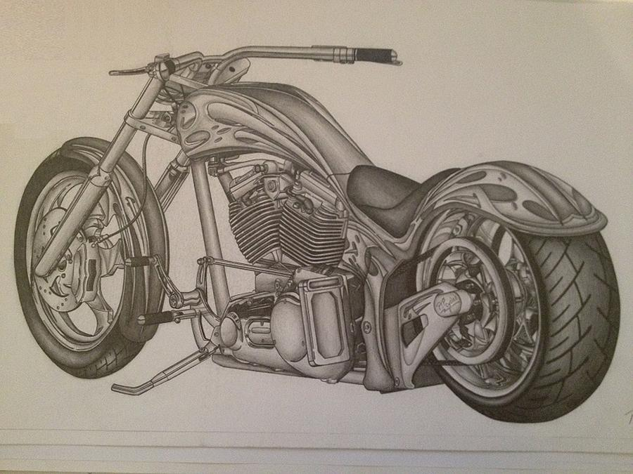 Custom Chopper Drawing By Peter Griffen
