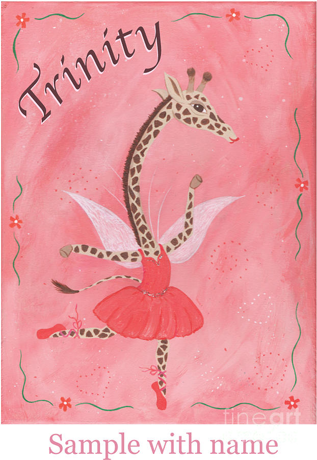 Original Painting - Custom Name Childs Giraffe Ballerina by Kristi L Randall