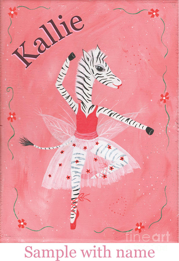 Original Painting - Custom Name Childs Zebra Ballerina by Kristi L Randall