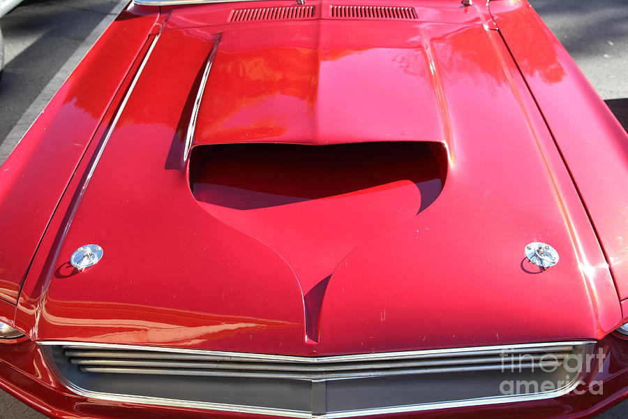 Transportation Photograph - Custom Red Ford Mustang - 5d19305 by Wingsdomain Art and Photography