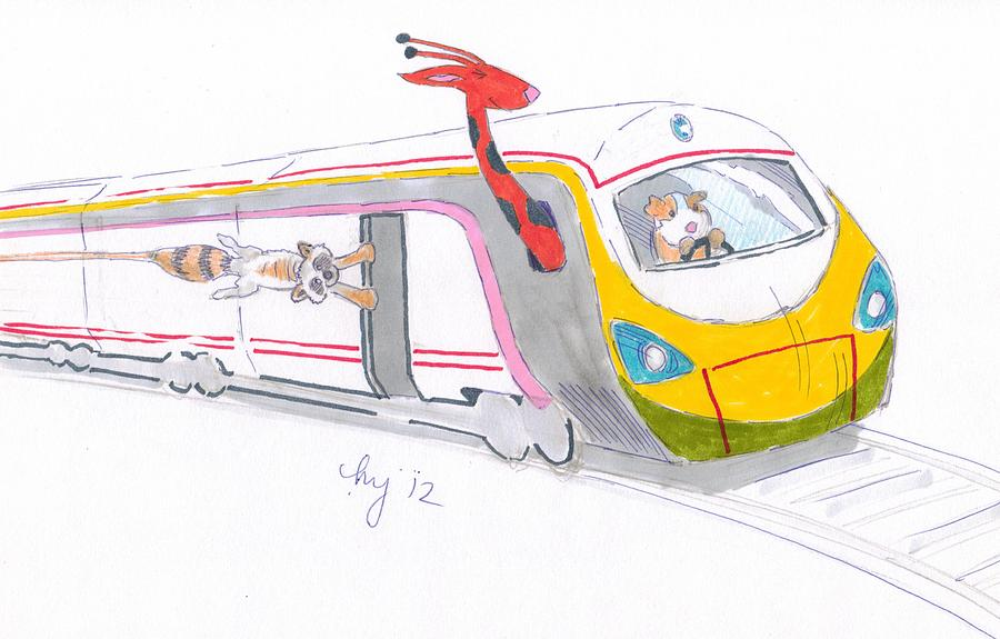 Train Drawing - Cute Cartoon High Speed Train And Animals by Mike Jory