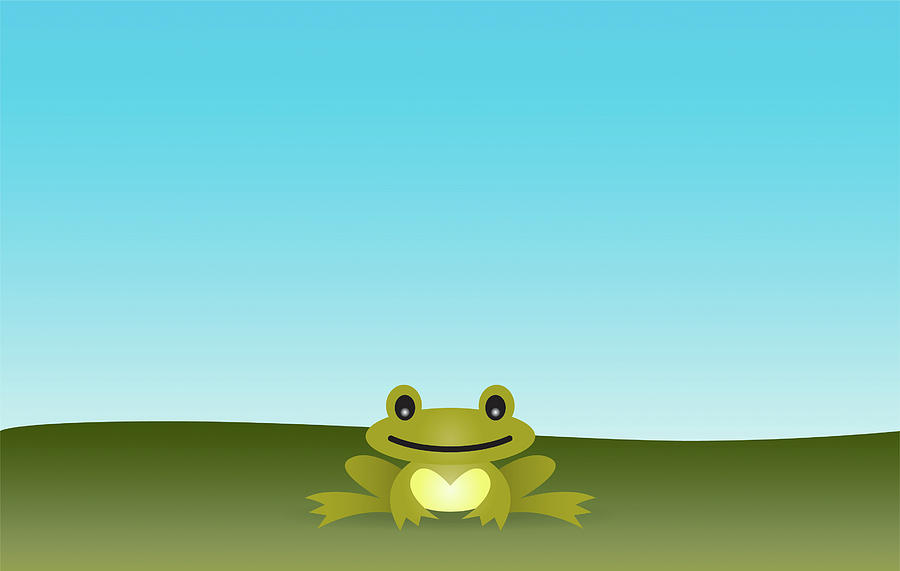Horizontal Digital Art - Cute Frog Sitting On The Grass by © Roctopus
