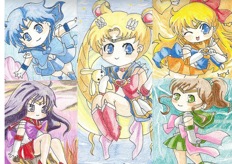 Cutie Sailor Moon Colored Pencil Copy Version Drawing By Junhui ZHAO