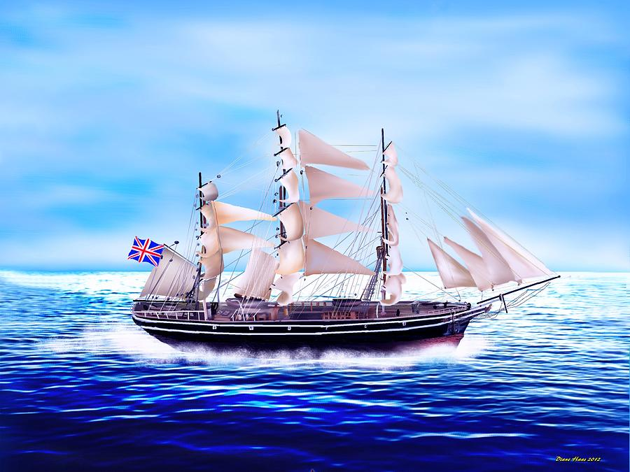 Sailing Digital Art - Cutty Sark by Diane Haas