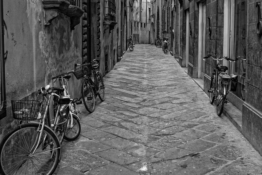 B & W Photograph - Cycle Lane by Michael Avory