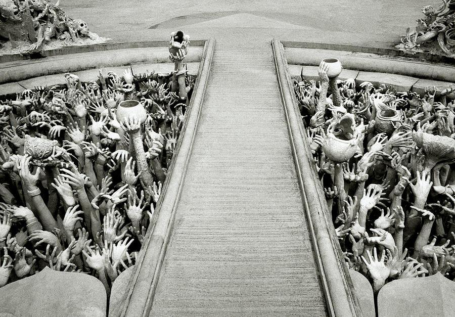 B&w Photograph - Cycle Of Rebirth At Wat Rong Khun In Thailand by Shaun Higson