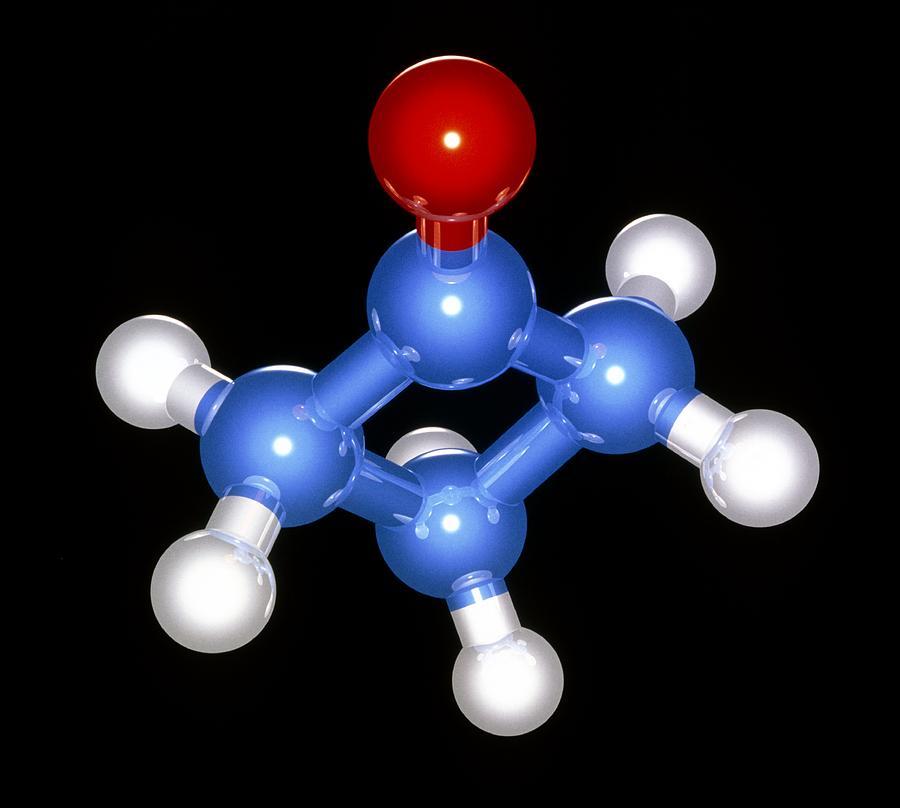 Cyclobutanone Photograph - Cyclobutanone Molecule by Laguna Design