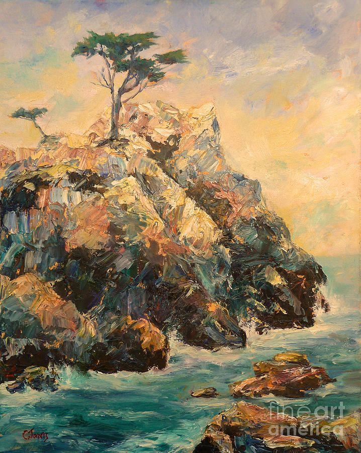 Lone Cypress Painting - Cypress Tree by Carolyn Jarvis