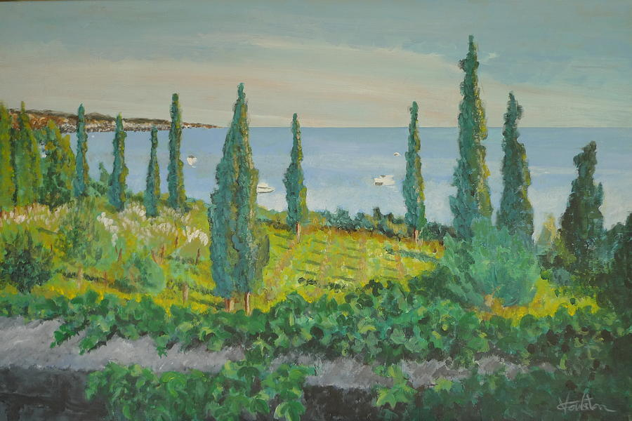 Trees Painting - Cypresses by Veronica Coulston