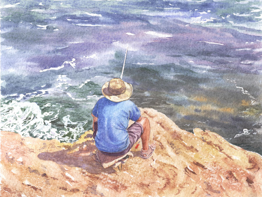 Seascape Painting - Cyprus Fisherman by Maureen Carter