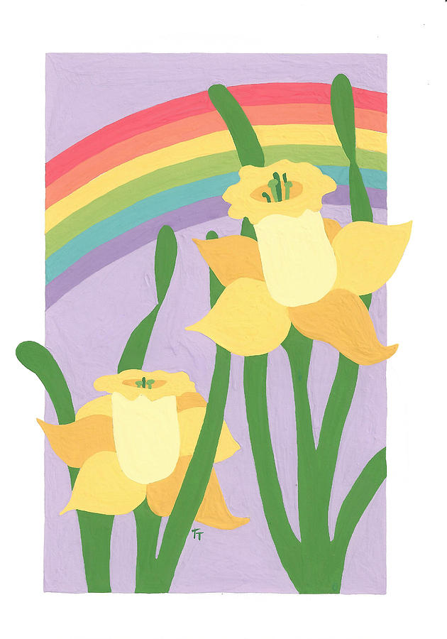 Rainbow Painting - Daffodils And Rainbows II by Terry Taylor