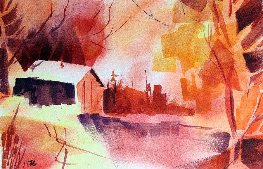 Abstract Landscape Painting - Dagmars Farm No. 1 by Josh Chilton
