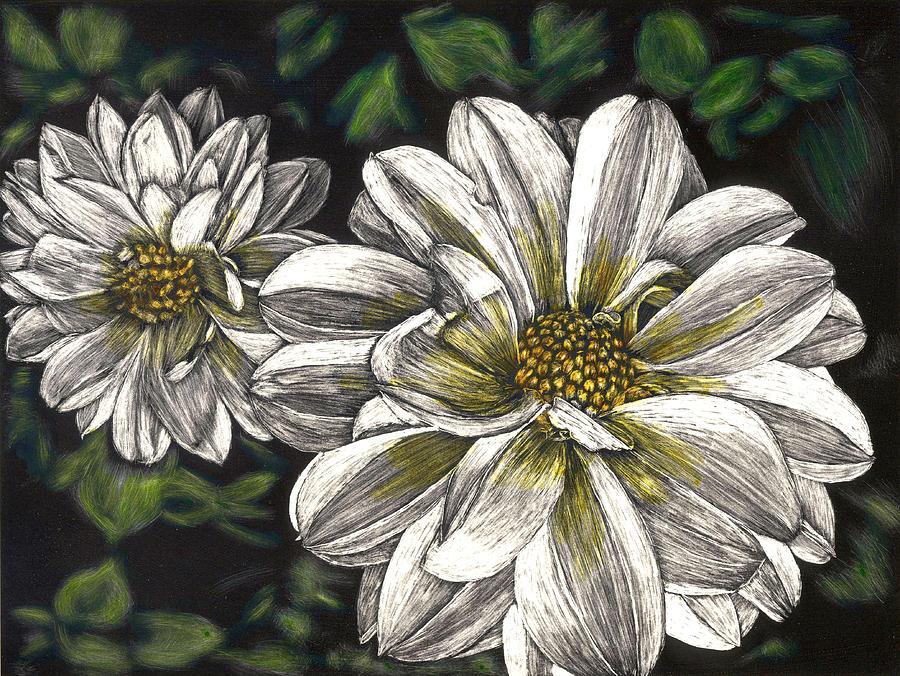 Dahlias Painting - Dahlias by Robert Goudreau