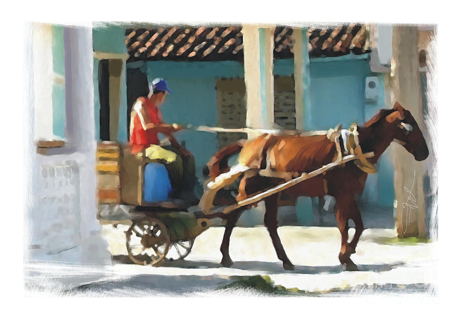 Horse Painting - daily chores small town rural Cuba by Bob Salo