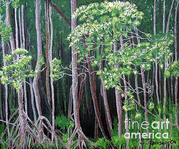 Paintings Painting - Daintree Forest At Twilight by Tatjana Popovska