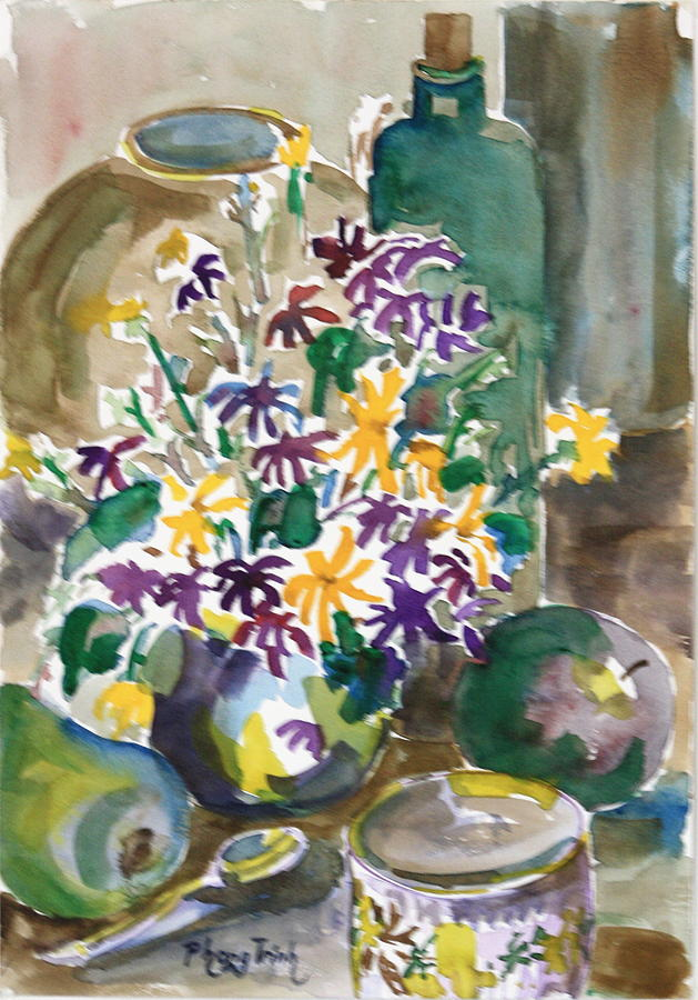 All Painting - Daisies And Green Fruits by Phong Trinh