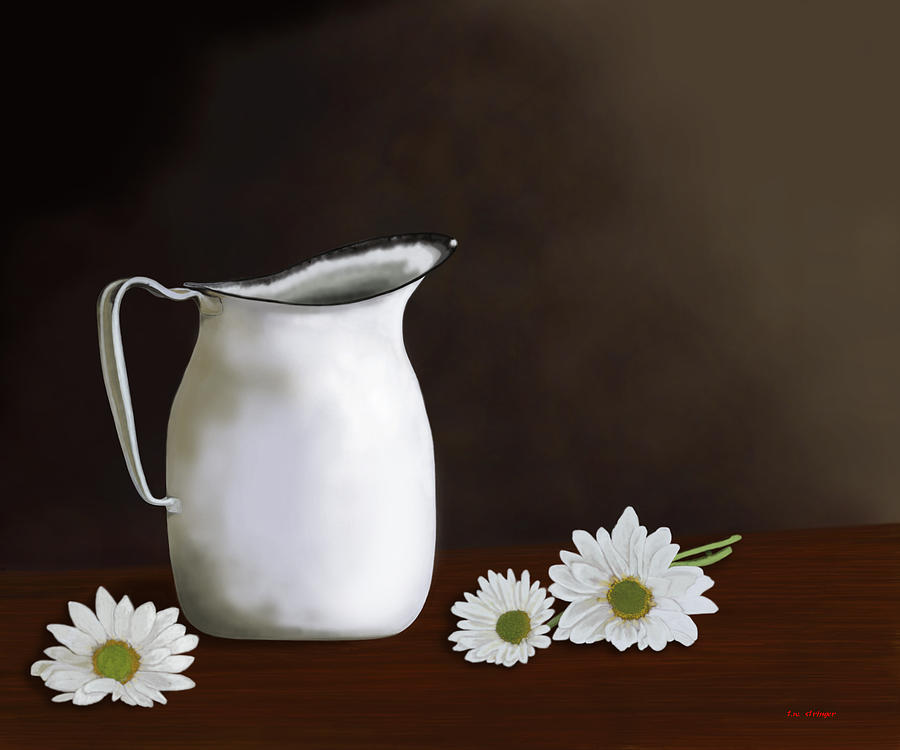 Daisy Painting - Daisies And Pitcher by Tim Stringer