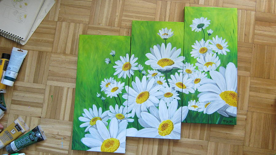 Daisies  Painting by Ema Dolinar Lovsin