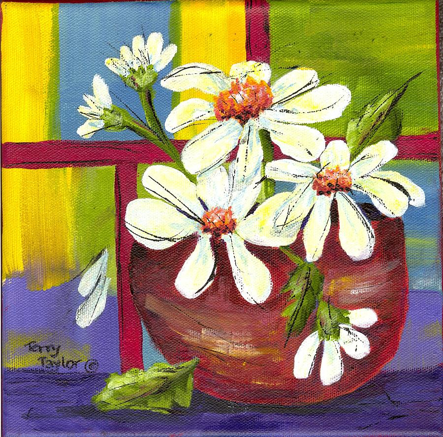 Daisies Painting - Daisies In A Red Bowl by Terry Taylor