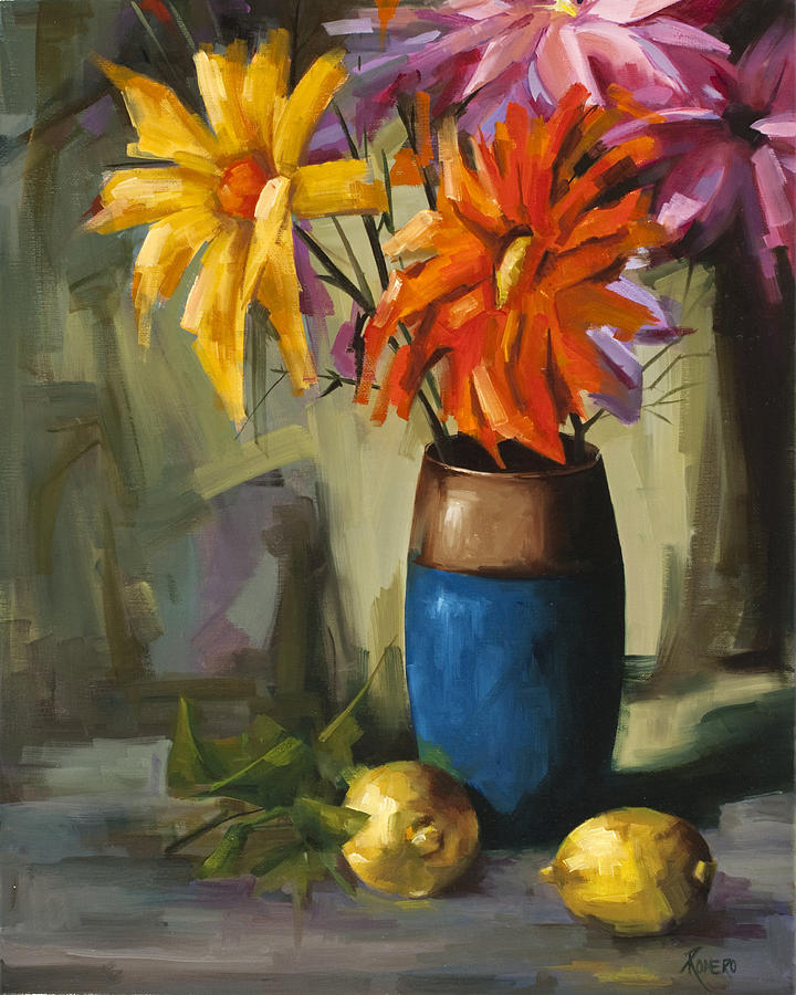 Still Life Painting - Daisies In Blue Vase by Pepe Romero