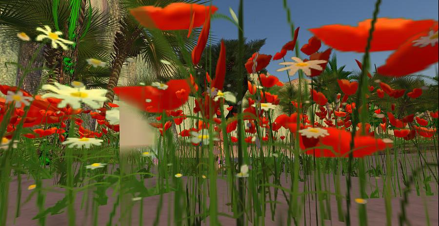 Digital Digital Art - Daisy And Poppies by Amy Bradley
