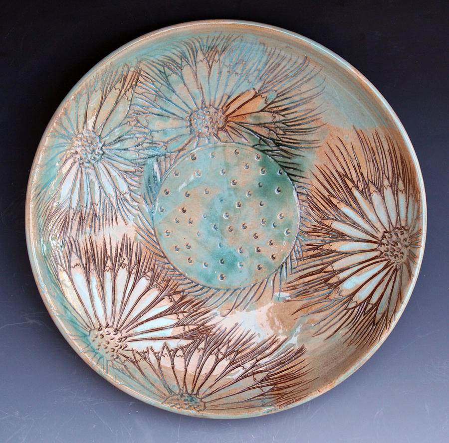 Daisy Ceramic Art - Daisy Gaillardia Plate by Patty Sheppard & Daisy Gaillardia Plate Ceramic Art by Patty Sheppard