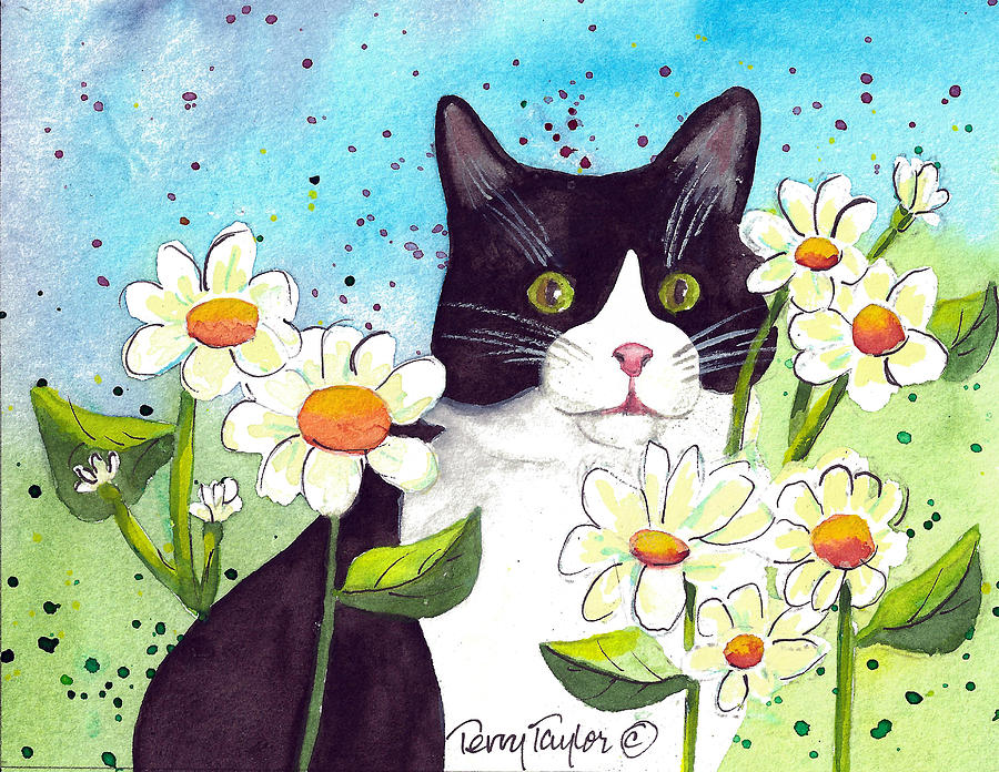 Cat Painting - Daisy M. Tuxedo by Terry Taylor