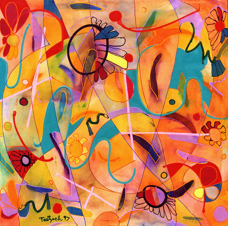 Abstract Painting - Daisy May by Lynne Taetzsch