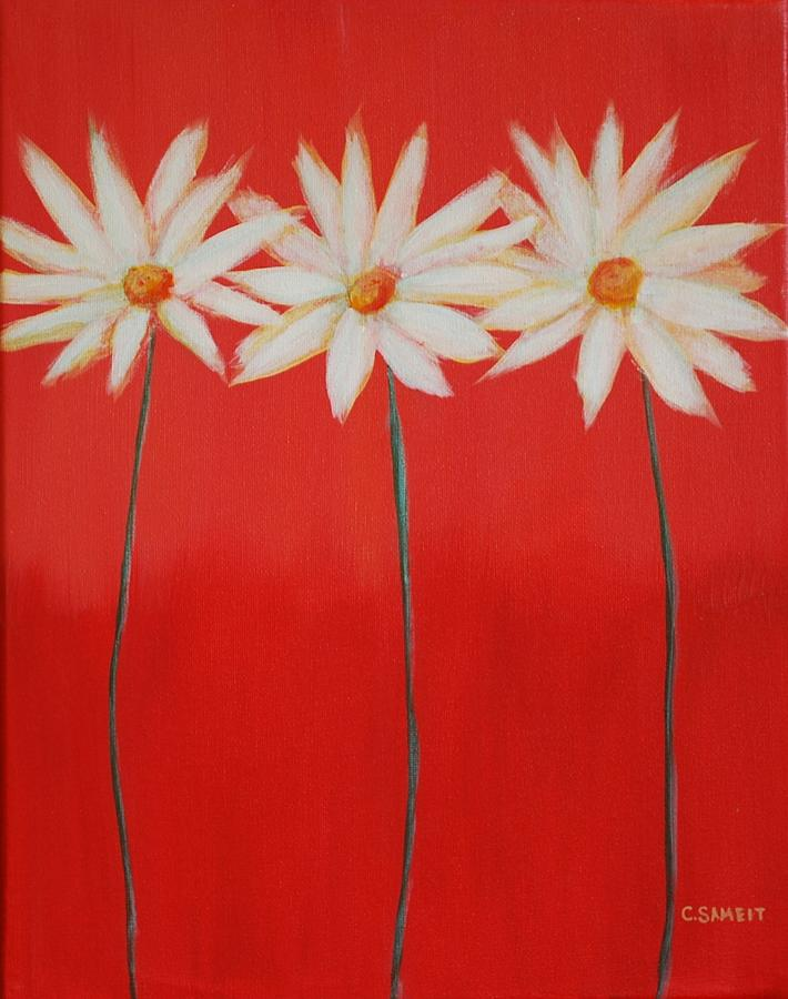 Red Painting - Daisy Trio - Red by Cheryl Sameit