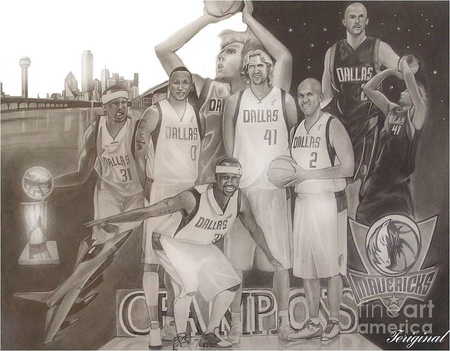 Mavericks Drawing - Dallas Mavericks Champs by Teriginal Washington