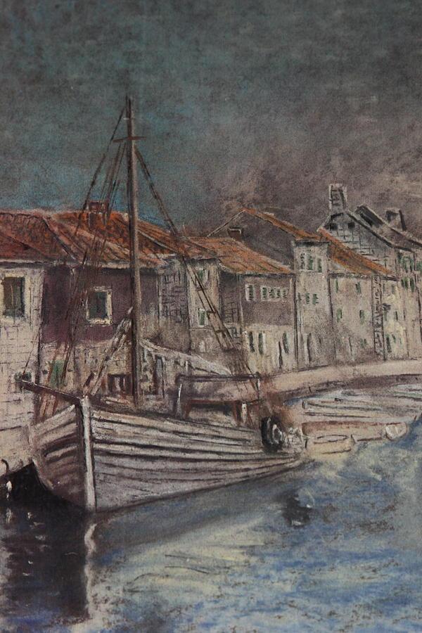 Dalmatia Port Cargo Boat Painting - Dalmatian Cargo Ship by Mladen Kandic