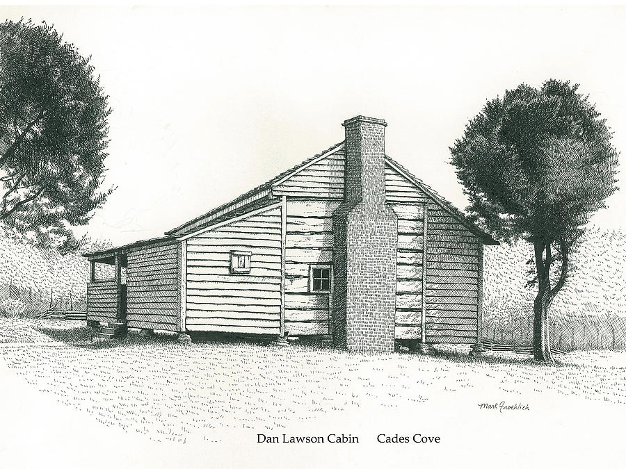 Cades Cove Drawing - Dan Lawson Cabin by Mark Froehlich