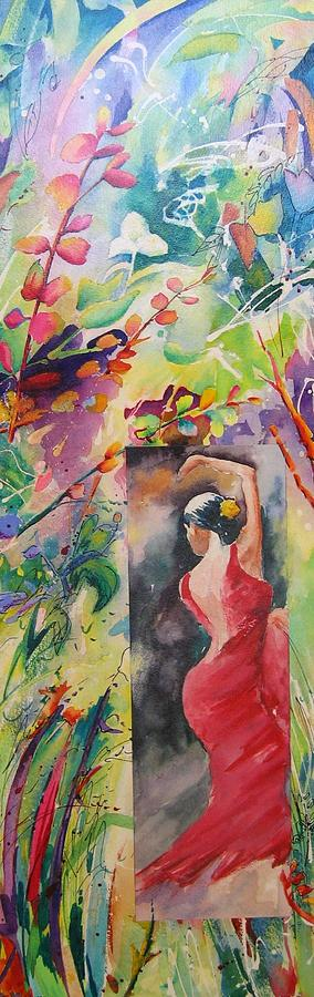 Watercolour Painting - Dance Of The Flowers by John Nussbaum