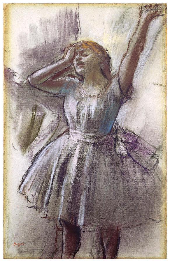 Dancer Stretching Photograph - Dancer Stretching by Edgar Degas