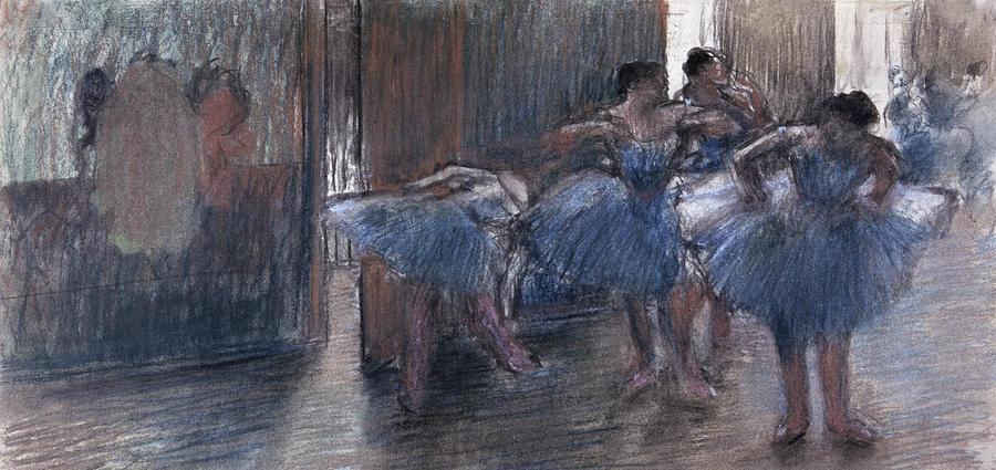 Pastel Painting - Dancers by Edgar Degas
